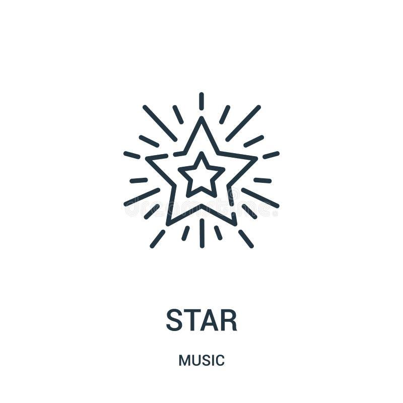 vetor do ícone da estrela da coleção da música Linha fina ilustra??o do vetor do ?cone do esbo?o da estrela ilustração royalty free