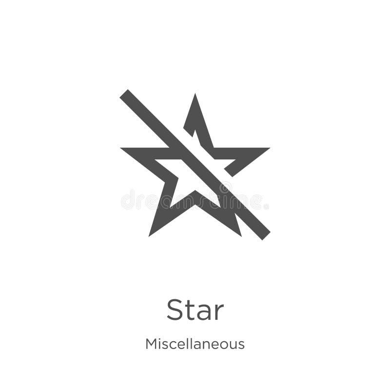 vetor do ícone da estrela da coleção variada Linha fina ilustração do vetor do ícone do esboço da estrela Esboço, linha fina ícon ilustração royalty free