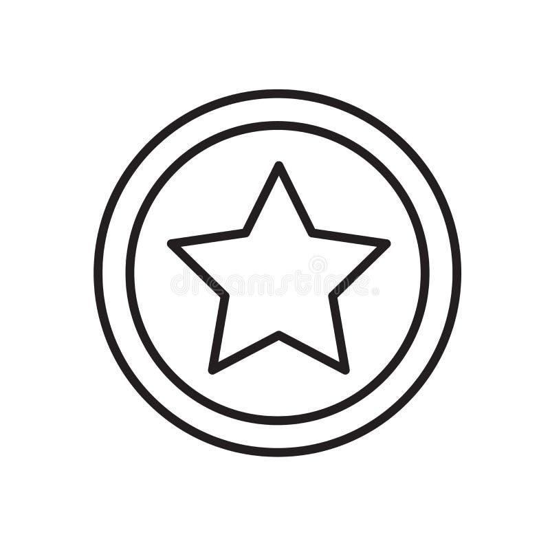 Vetor do ícone da estrela isolado no fundo, no sinal da estrela, no sinal e nos símbolos brancos no estilo linear fino do esboço ilustração royalty free