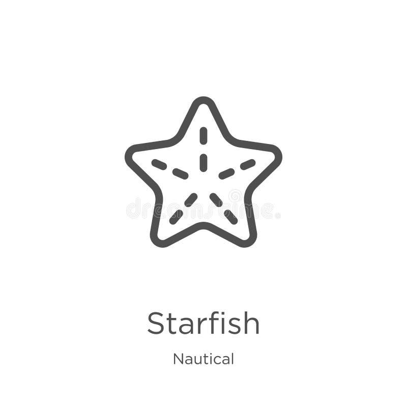 vetor do ícone da estrela do mar da coleção náutica Linha fina ilustração do vetor do ícone do esboço da estrela do mar Esboço, l ilustração stock
