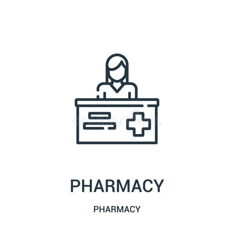 vetor do ícone da farmácia da coleção da farmácia Linha fina ilustração do vetor do ícone do esboço da farmácia ilustração royalty free