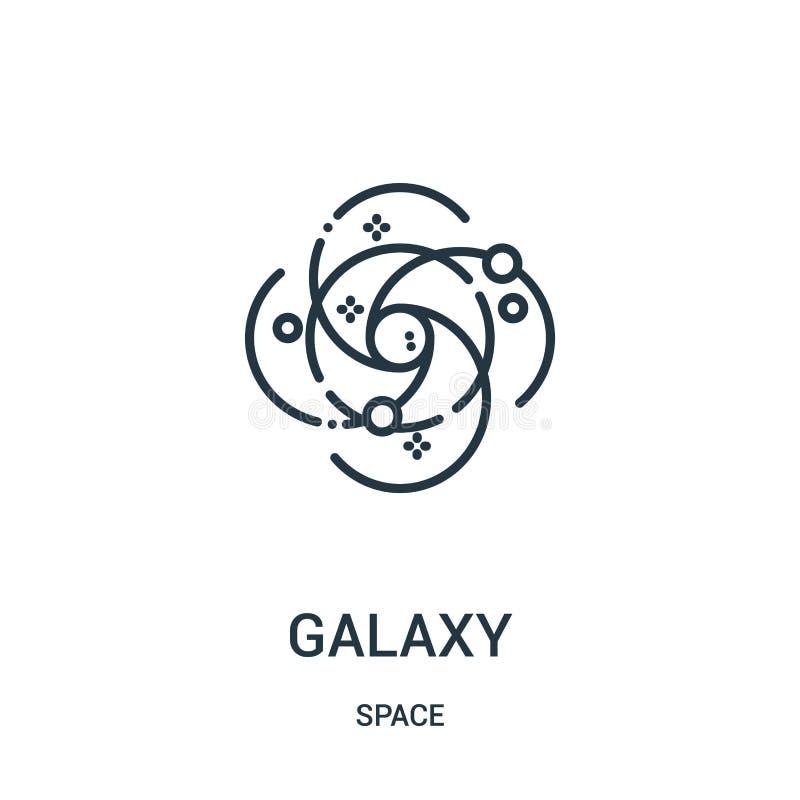 vetor do ícone da galáxia da coleção do espaço Linha fina ilustração do vetor do ícone do esboço da galáxia ilustração stock