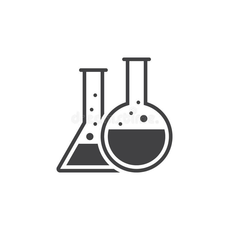 Vetor do ícone da garrafa da química, logotipo contínuo do laboratório, pictograma isolado ilustração do vetor