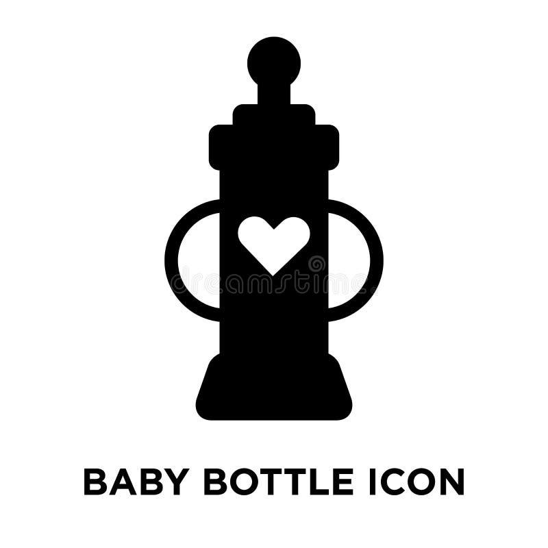 Vetor do ícone da garrafa de bebê isolado no fundo branco, conce do logotipo ilustração stock
