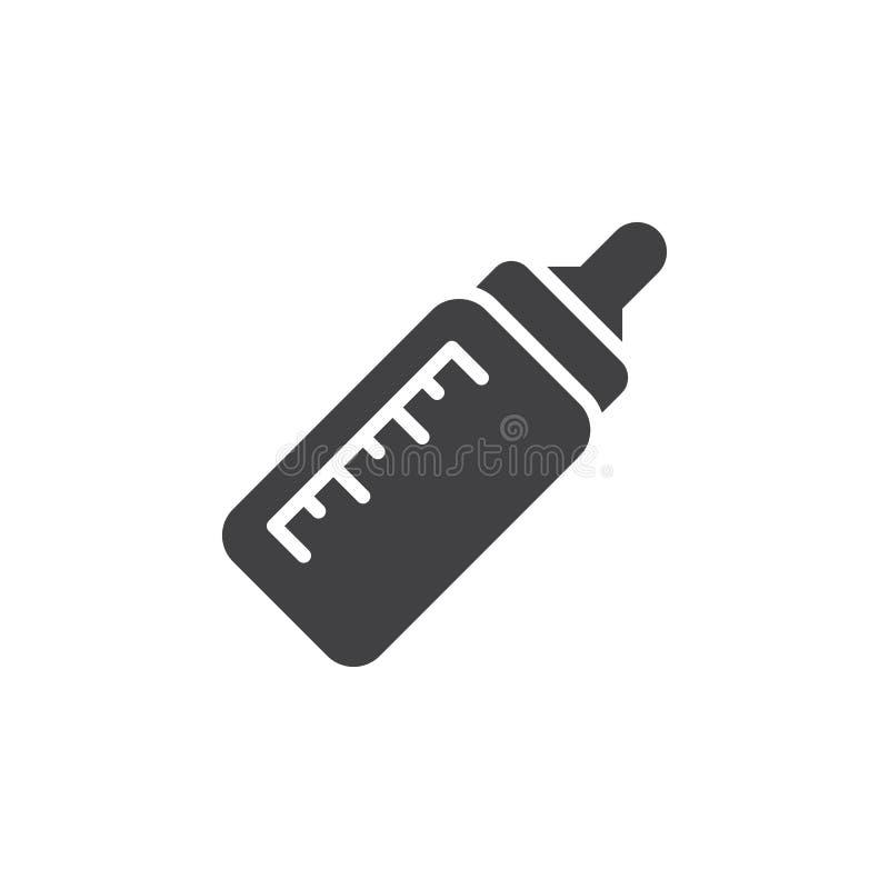 Vetor do ícone da garrafa de bebê, sinal liso enchido, pictograma contínuo isolado no branco Símbolo, ilustração do logotipo ilustração stock
