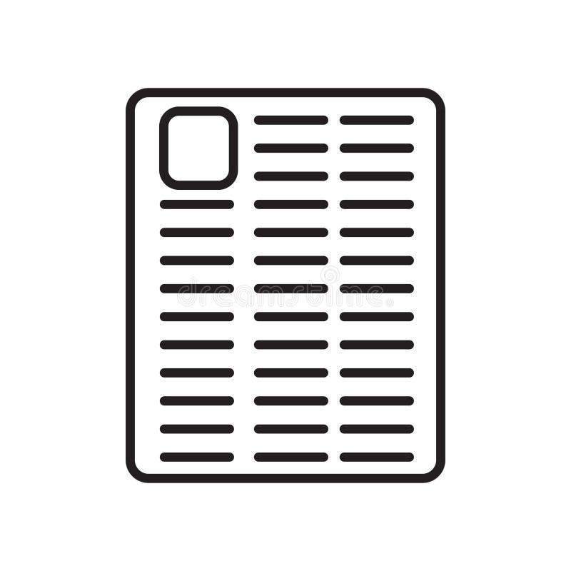 Vetor do ícone da gazeta isolado no fundo, no sinal da gazeta, no sinal e nos símbolos brancos no estilo linear fino do esboço ilustração stock