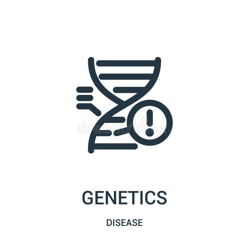 vetor do ícone da genética da coleção da doença Linha fina ilustração do vetor do ícone do esboço da genética Símbolo linear para ilustração stock
