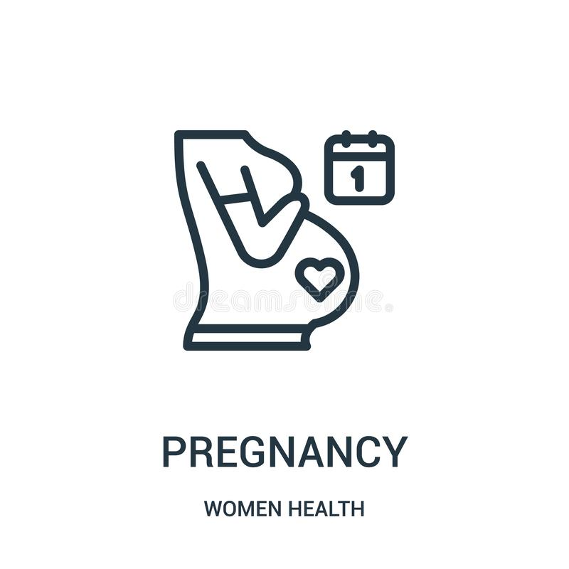 vetor do ícone da gravidez da coleção da saúde das mulheres Linha fina ilustração do vetor do ícone do esboço da gravidez ilustração stock