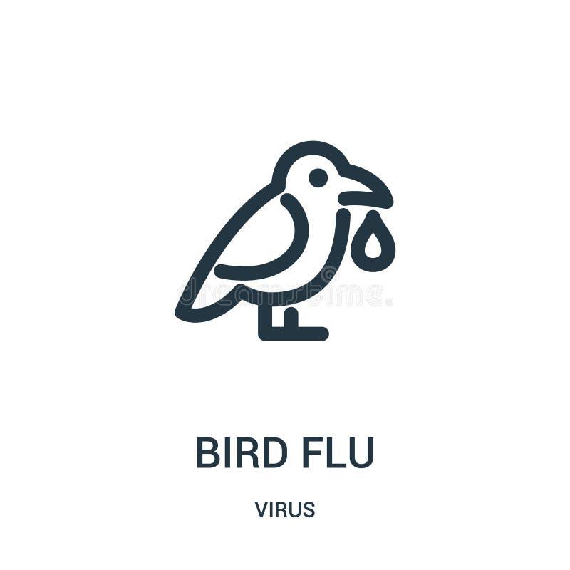 vetor do ícone da gripe das aves da coleção do vírus Linha fina ilustração do vetor do ícone do esboço da gripe das aves ilustração stock