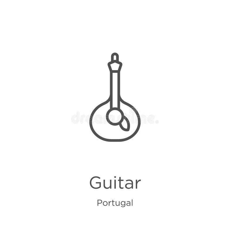 vetor do ícone da guitarra da coleção de Portugal Linha fina ilustra??o do vetor do ?cone do esbo?o da guitarra Esbo?o, linha fin ilustração stock