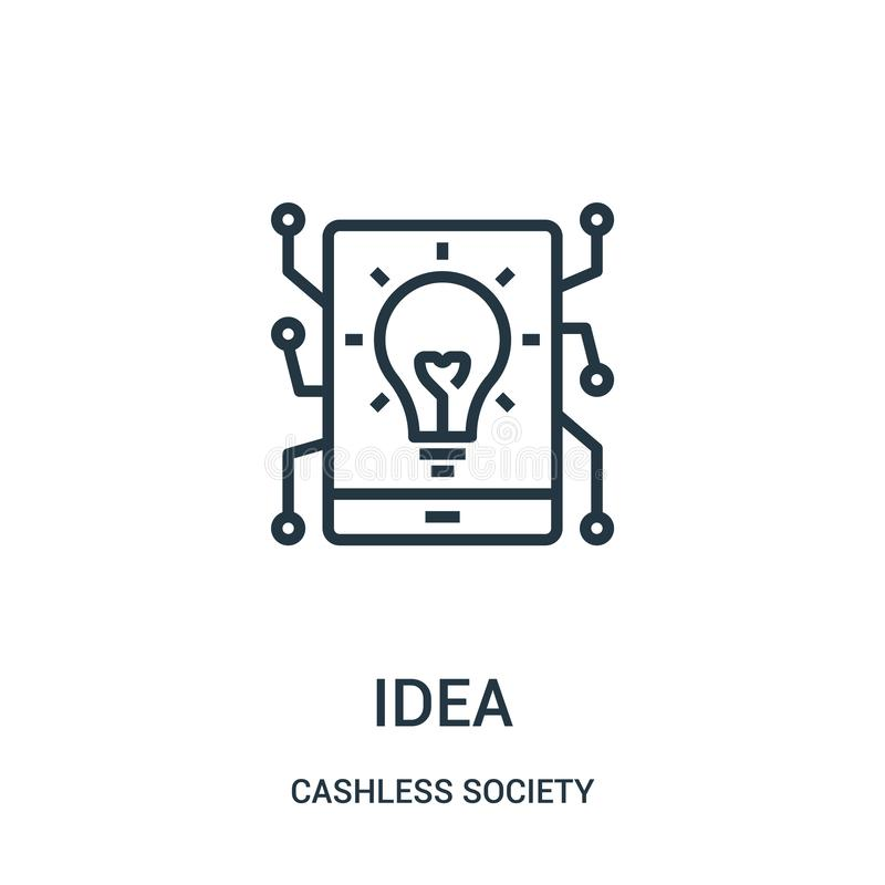 vetor do ícone da ideia da coleção cashless da sociedade Linha fina ilustração do vetor do ícone do esboço da ideia ilustração royalty free