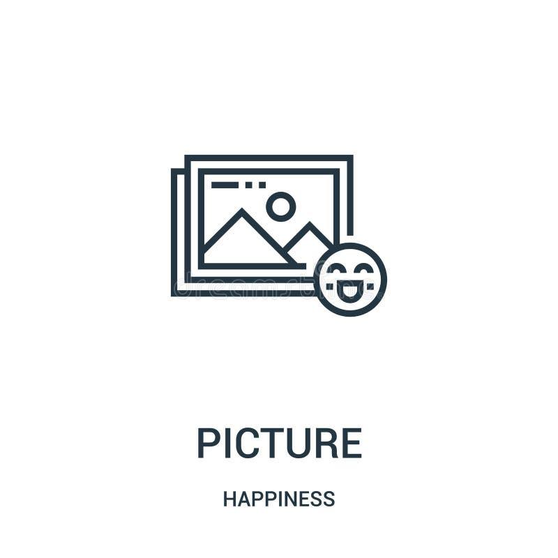 vetor do ícone da imagem da coleção da felicidade Linha fina ilustração do vetor do ícone do esboço da imagem Símbolo linear para ilustração do vetor