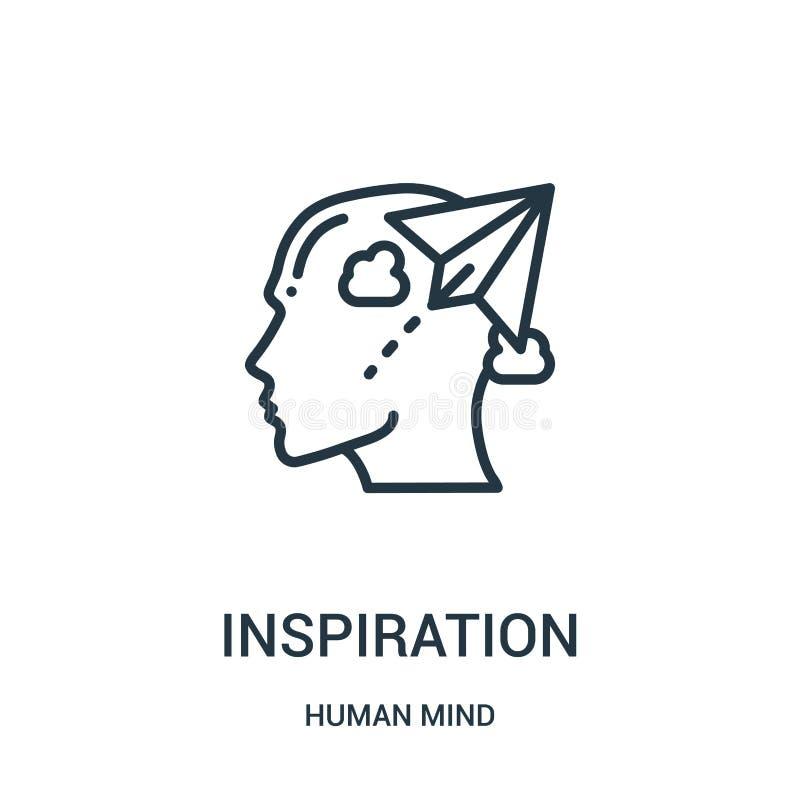 vetor do ícone da inspiração da coleção da mente humana Linha fina ilustração do vetor do ícone do esboço da inspiração Símbolo l ilustração royalty free