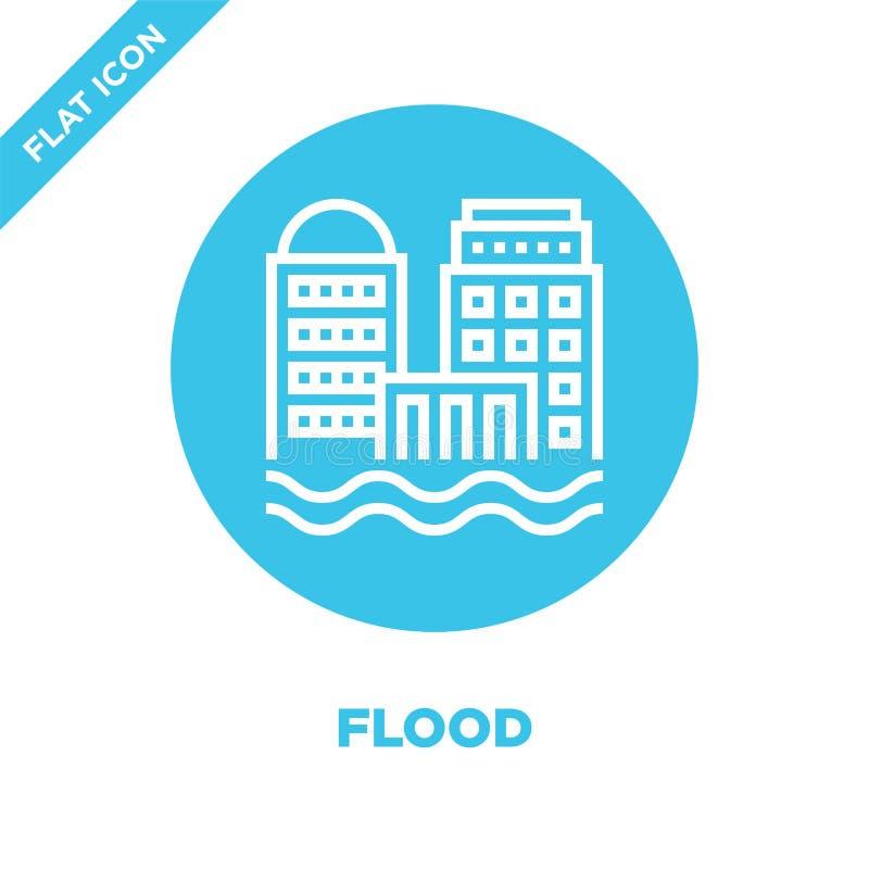 vetor do ícone da inundação da coleção do aquecimento global Linha fina ilustração do vetor do ícone do esboço da inundação Símbo ilustração do vetor