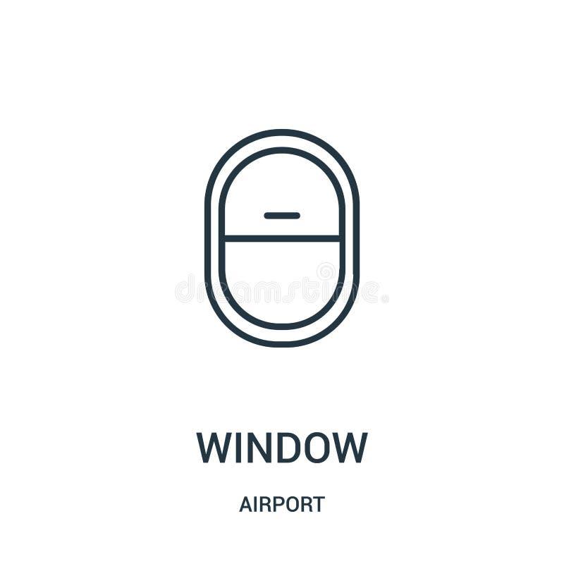 vetor do ícone da janela da coleção do aeroporto Linha fina ilustra??o do vetor do ?cone do esbo?o da janela ilustração do vetor