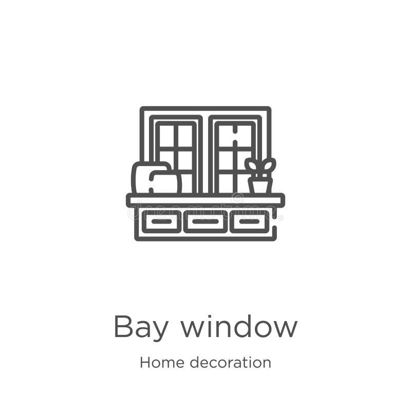 vetor do ícone da janela de baía da coleção da decoração da casa Linha fina ilustração do vetor do ícone do esboço da janela de b ilustração stock