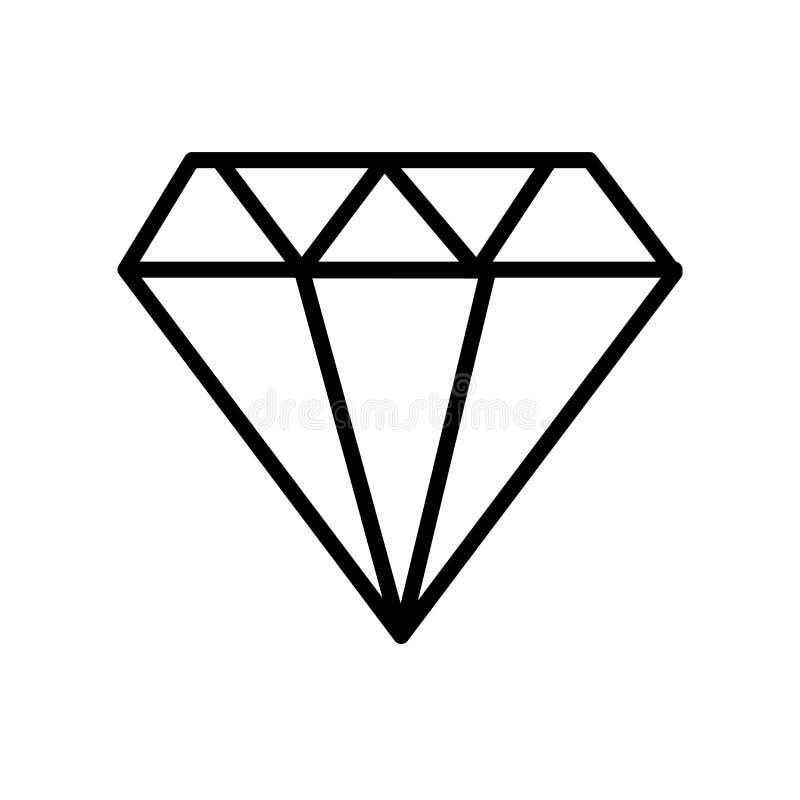 Vetor do ícone da joia isolado no fundo branco, no sinal da joia, na linha ou no sinal linear, projeto do elemento no estilo do e ilustração stock