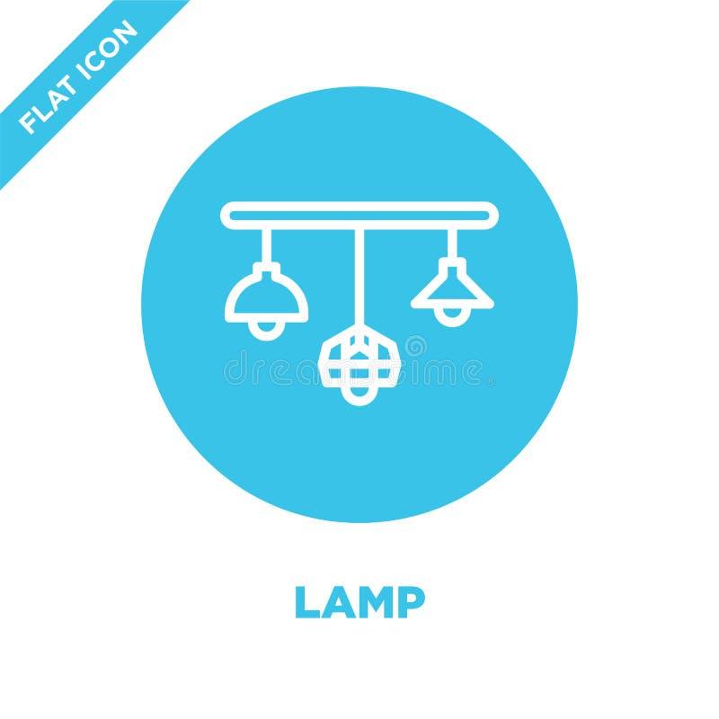 vetor do ícone da lâmpada da coleção das mobílias Linha fina ilustração do vetor do ícone do esboço da lâmpada Símbolo linear par ilustração royalty free