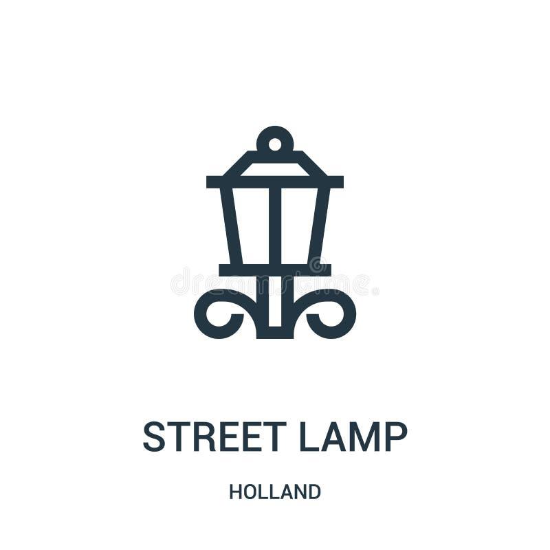 vetor do ícone da lâmpada de rua da coleção de holland Linha fina ilustração do vetor do ícone do esboço da lâmpada de rua Símbol ilustração do vetor