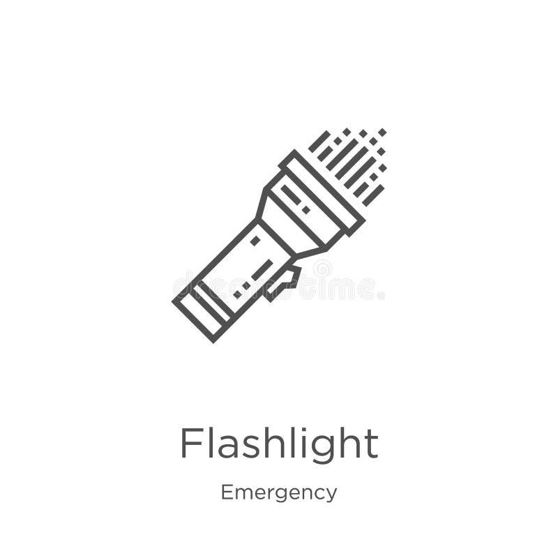 vetor do ícone da lanterna elétrica da coleção da emergência Linha fina ilustração do vetor do ícone do esboço da lanterna elétri ilustração royalty free