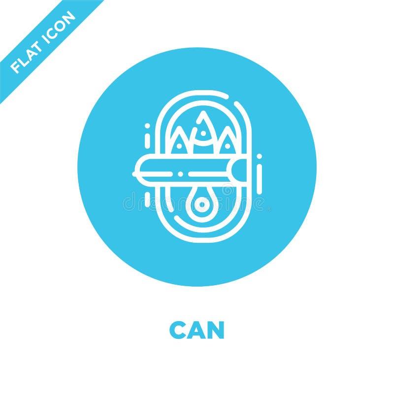 vetor do ícone da lata da coleção de acampamento A linha fina pode esboçar a ilustração do vetor do ícone Símbolo linear para o u ilustração do vetor