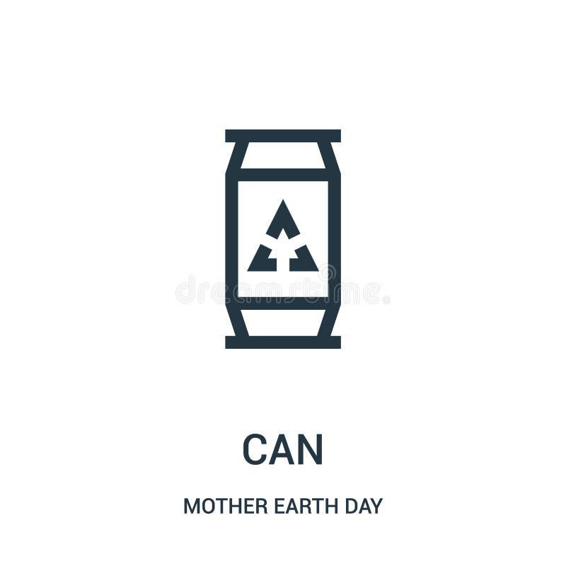 vetor do ícone da lata da coleção do dia de Mãe Terra A linha fina pode esboçar a ilustração do vetor do ícone ilustração royalty free