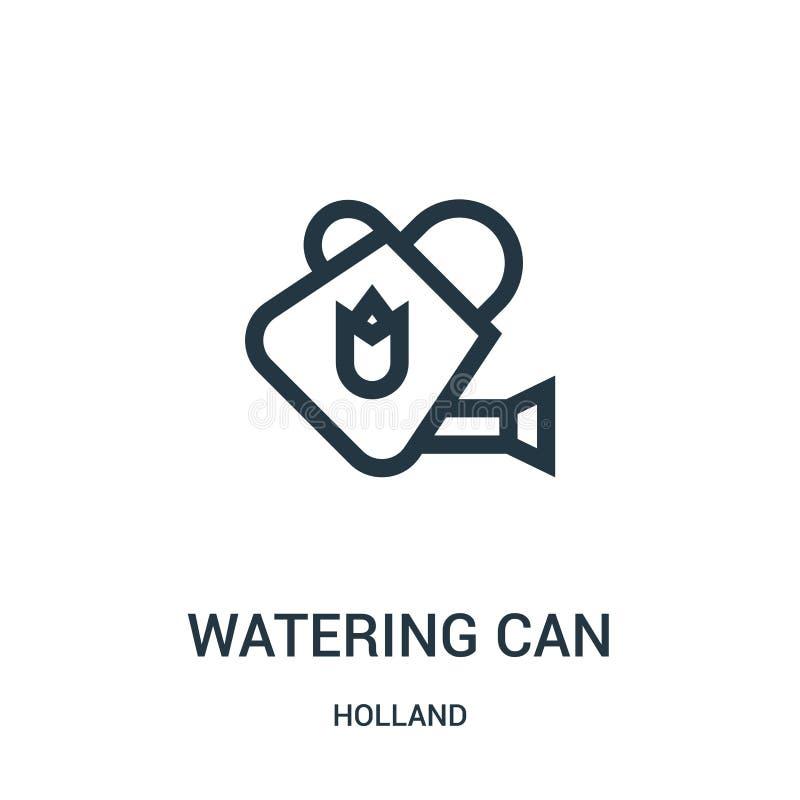 vetor do ícone da lata molhando da coleção de holland A linha fina molhar pode esboçar a ilustração do vetor do ícone Símbolo lin ilustração do vetor
