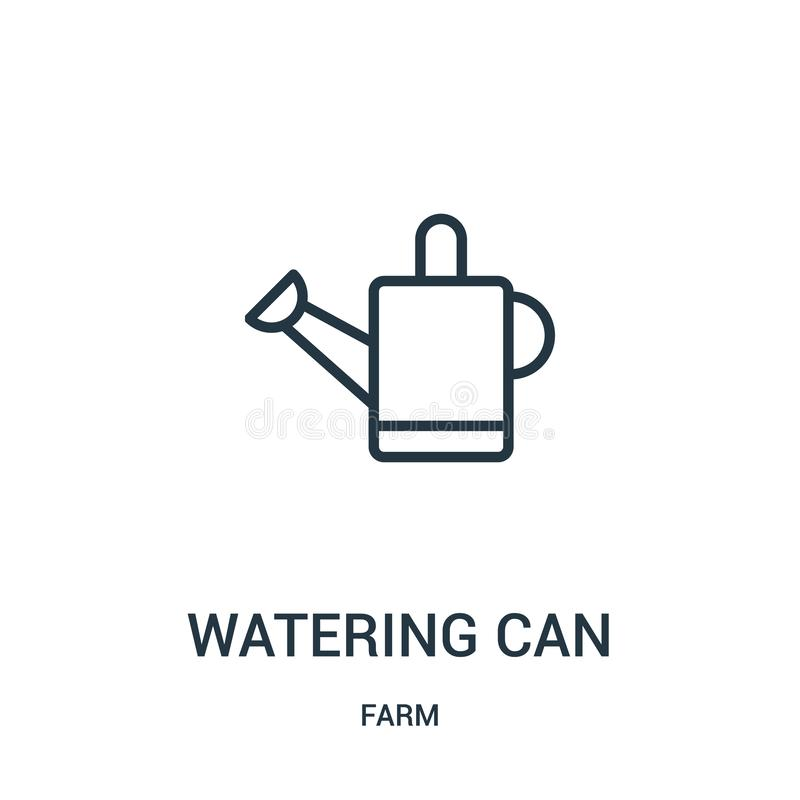 vetor do ícone da lata molhando da coleção da exploração agrícola A linha fina molhar pode esboçar a ilustração do vetor do ícone ilustração royalty free
