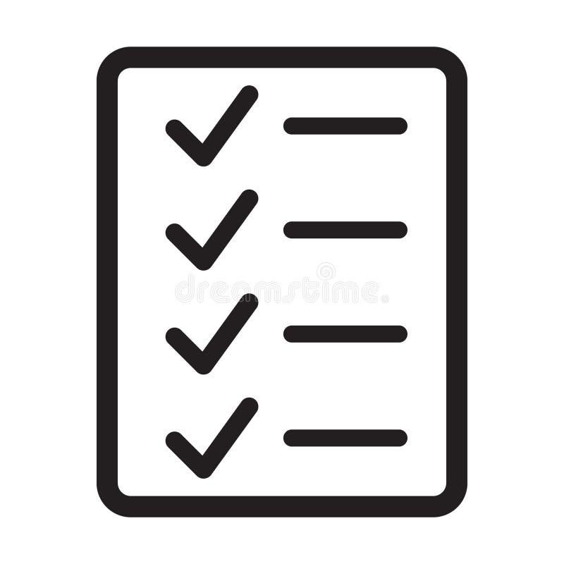 Vetor do ícone da lista de verificação ilustração do vetor