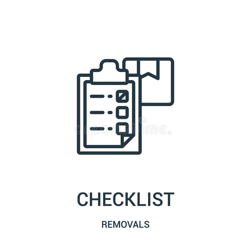 vetor do ícone da lista de verificação da coleção das remoções Linha fina ilustração do vetor do ícone do esboço da lista de veri ilustração royalty free