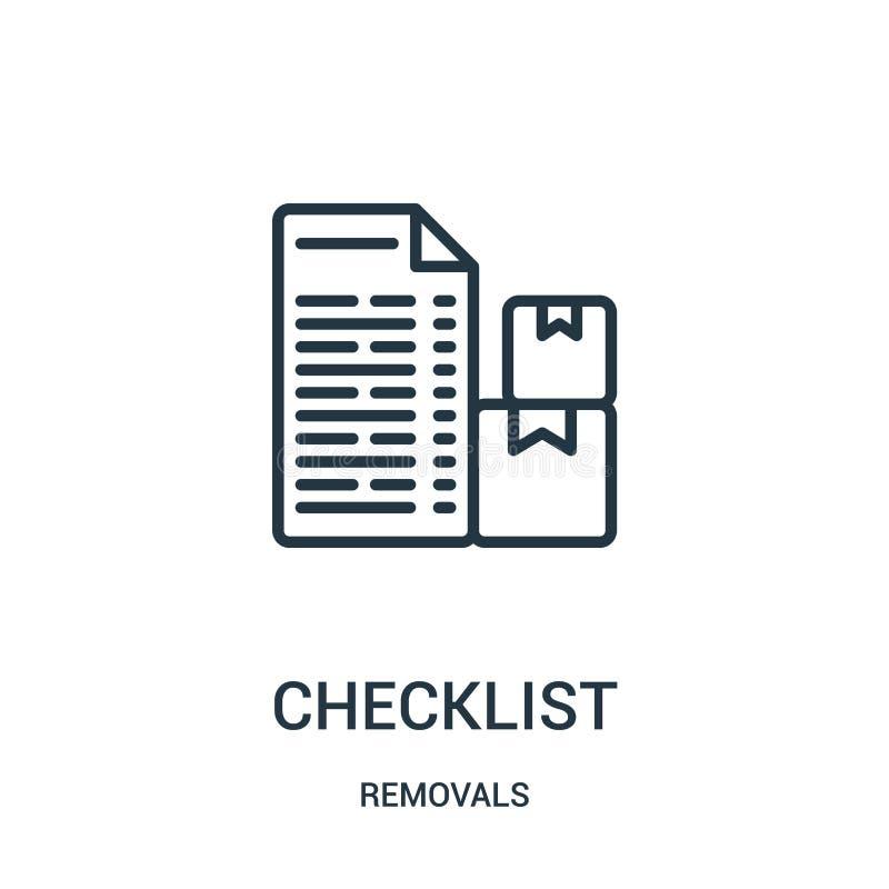 vetor do ícone da lista de verificação da coleção das remoções Linha fina ilustração do vetor do ícone do esboço da lista de veri ilustração stock