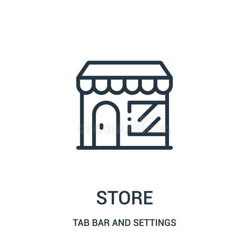 vetor do ícone da loja da barra da aba e da coleção dos ajustes Linha fina ilustração do vetor do ícone do esboço da loja ilustração royalty free