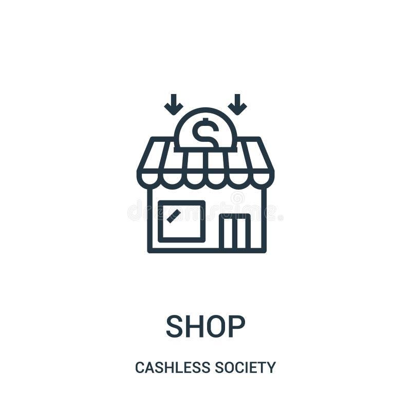 vetor do ícone da loja da coleção cashless da sociedade Linha fina ilustra??o do vetor do ?cone do esbo?o da loja ilustração stock