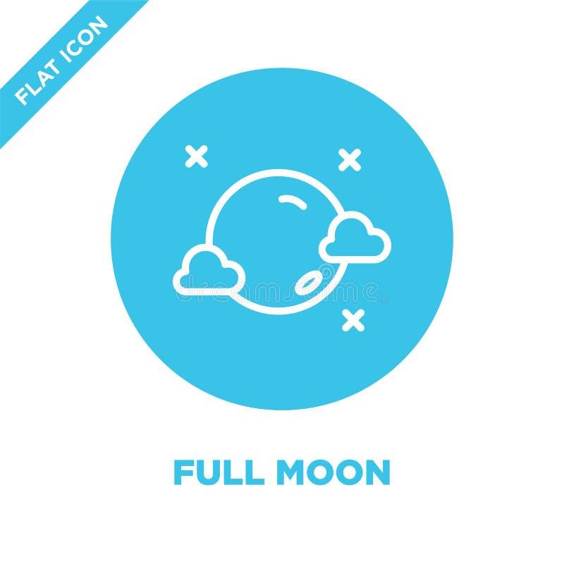 vetor do ícone da Lua cheia da coleção do tempo Linha fina ilustração do vetor do ícone do esboço da Lua cheia Símbolo linear par ilustração do vetor