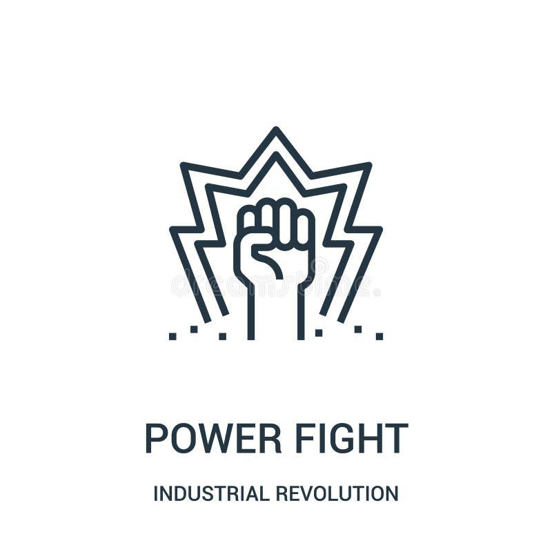 vetor do ícone da luta do poder da coleção da Revolução Industrial Linha fina ilustração do vetor do ícone do esboço da luta do p ilustração stock