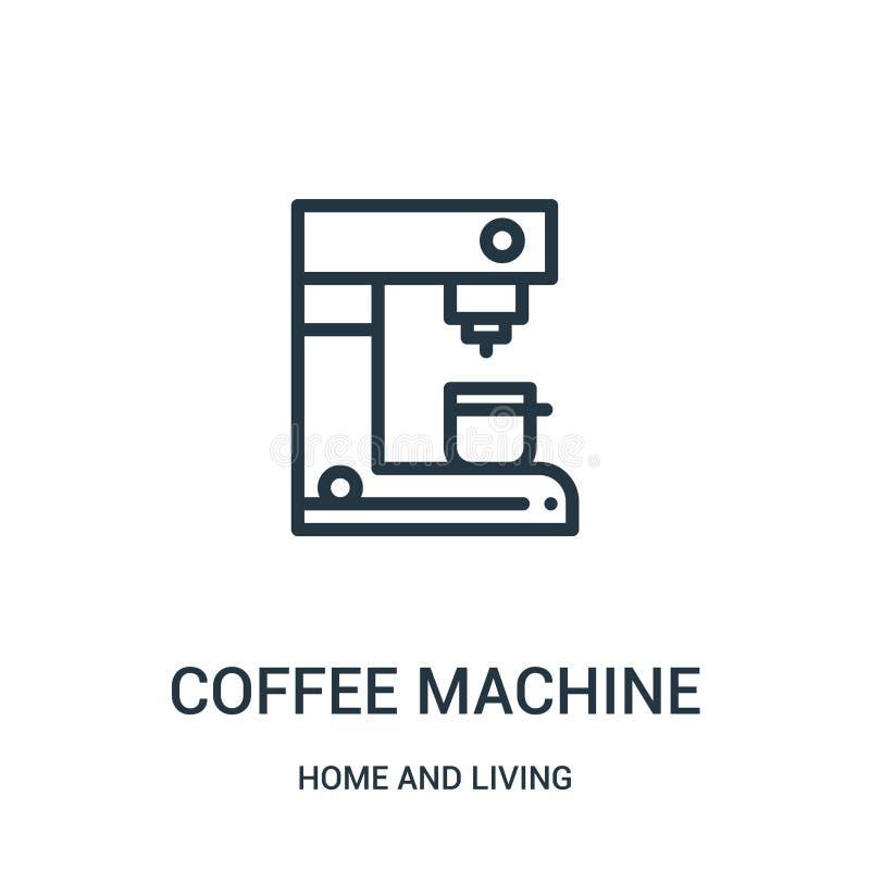 vetor do ícone da máquina do café da casa e de coleção viva Linha fina ilustração do vetor do ícone do esboço da máquina do café  ilustração do vetor
