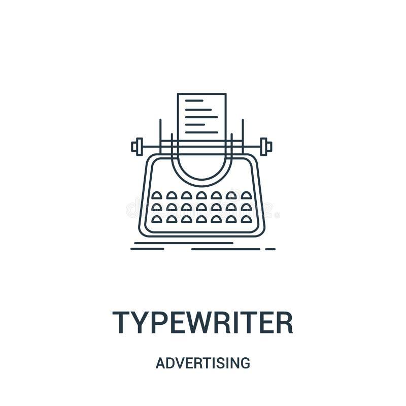vetor do ícone da máquina de escrever de anunciar a coleção Linha fina ilustração do vetor do ícone do esboço da máquina de escre ilustração royalty free