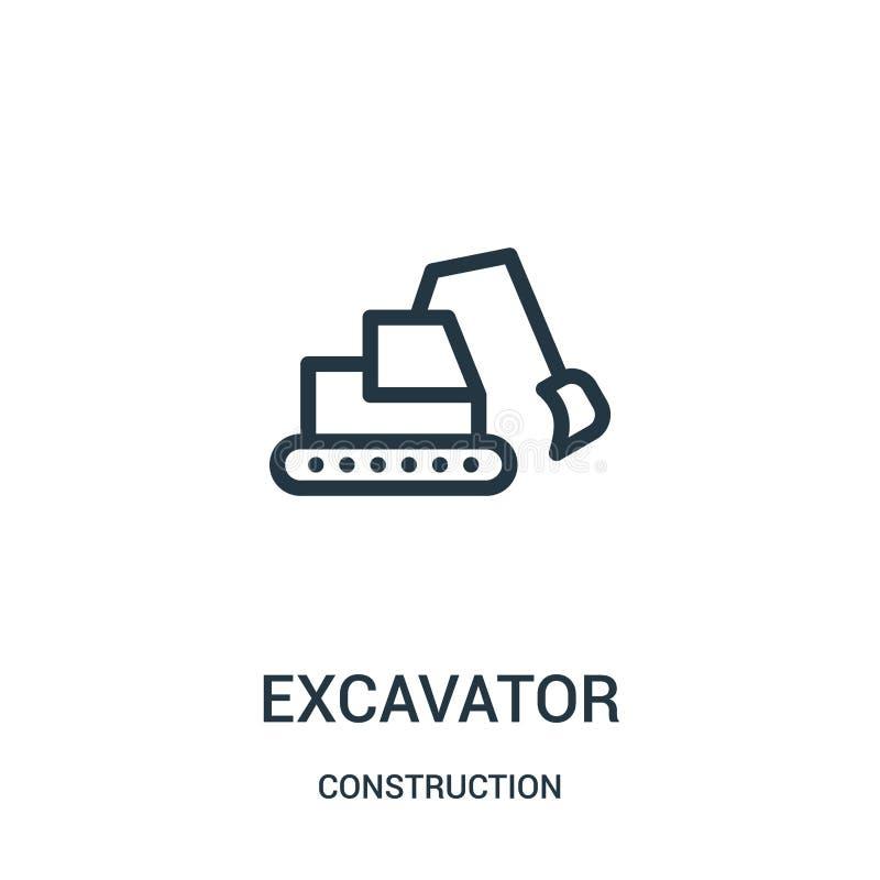 vetor do ícone da máquina escavadora da coleção da construção Linha fina ilustração do vetor do ícone do esboço da máquina escava ilustração stock