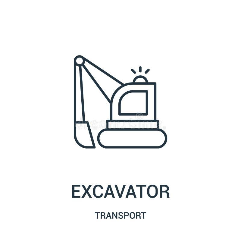 vetor do ícone da máquina escavadora da coleção do transporte Linha fina ilustra??o do vetor do ?cone do esbo?o da m?quina escava ilustração royalty free