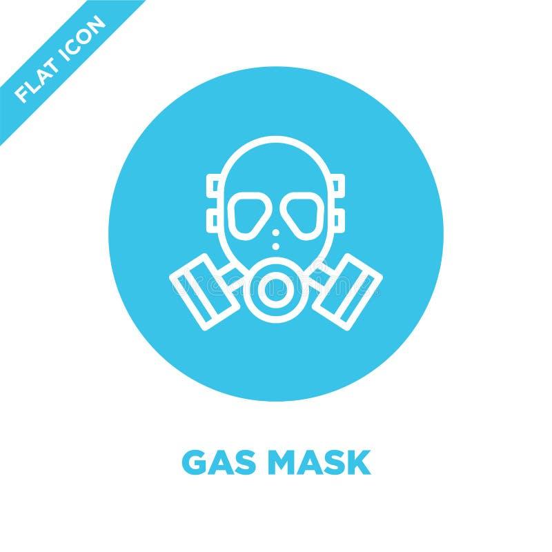 vetor do ícone da máscara de gás da coleção militar Linha fina ilustração do vetor do ícone do esboço da máscara de gás Símbolo l ilustração stock