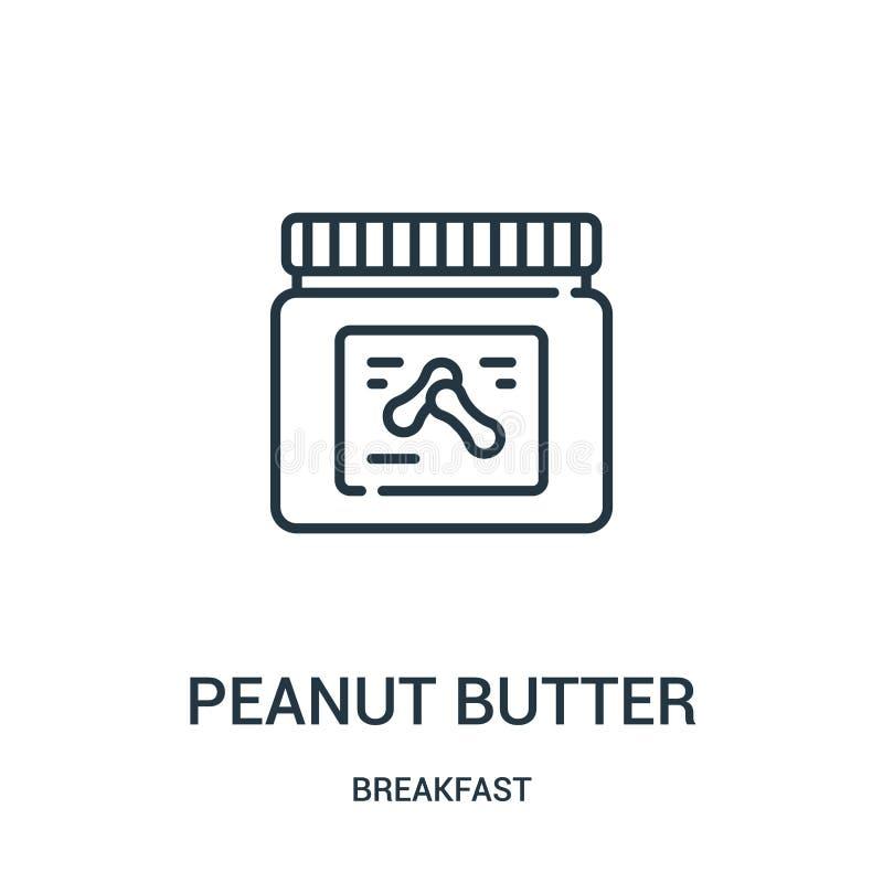 vetor do ícone da manteiga de amendoim da coleção do café da manhã Linha fina ilustração do vetor do ícone do esboço da manteiga  ilustração stock