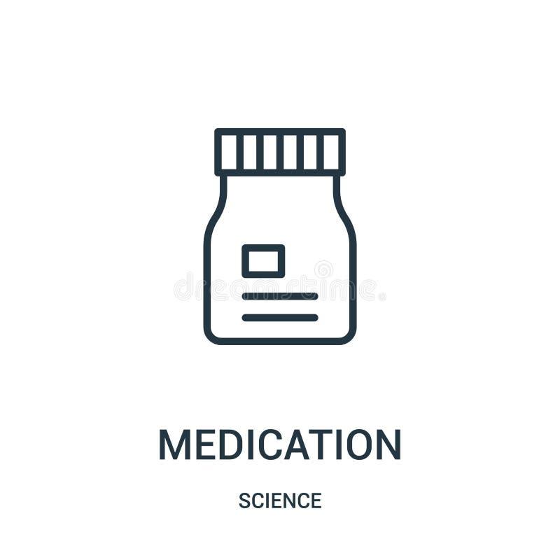 vetor do ícone da medicamentação da coleção da ciência Linha fina ilustração do vetor do ícone do esboço da medicamentação Símbol ilustração royalty free