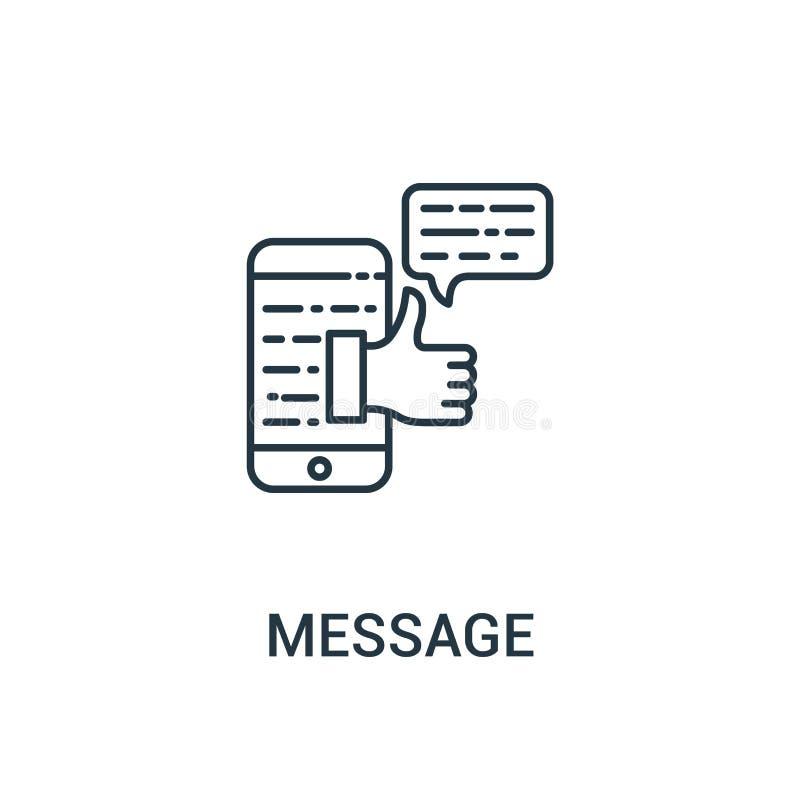vetor do ícone da mensagem da coleção dos anúncios Linha fina ilustração do vetor do ícone do esboço da mensagem Símbolo linear p ilustração do vetor