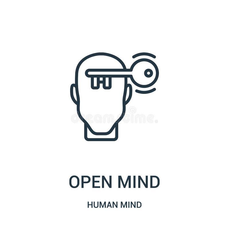vetor do ícone da mente aberta da coleção da mente humana Linha fina ilustração do vetor do ícone do esboço da mente aberta Símbo ilustração do vetor
