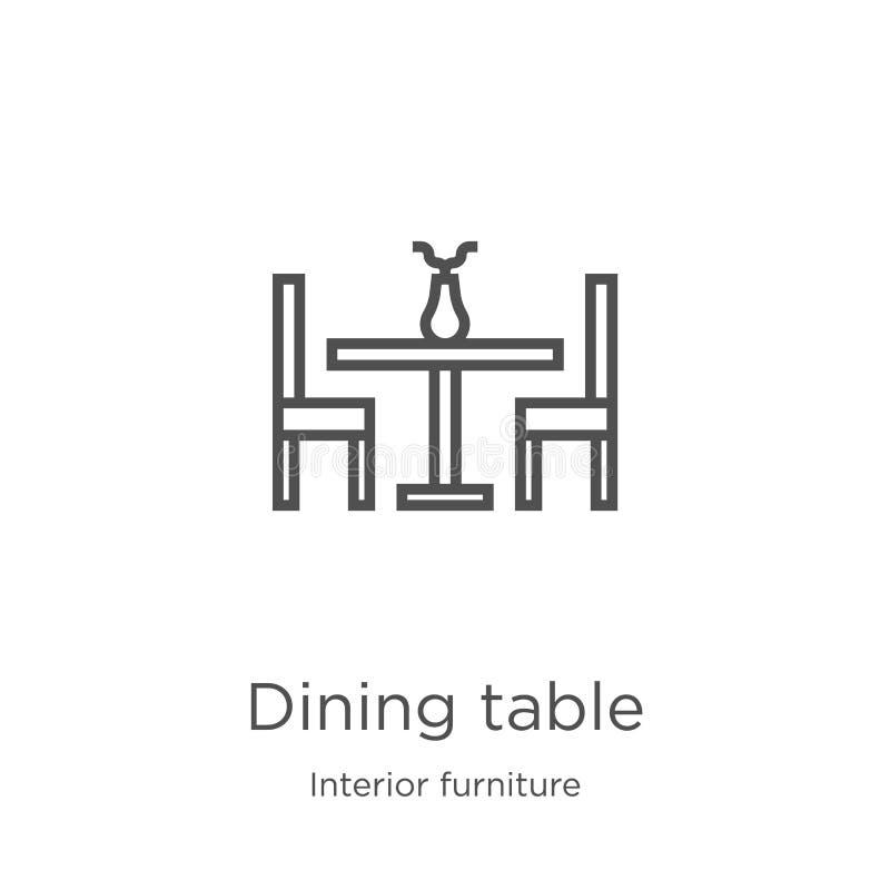 vetor do ícone da mesa de jantar da coleção interior da mobília Linha fina ilustração do vetor do ícone do esboço da mesa de jant ilustração royalty free