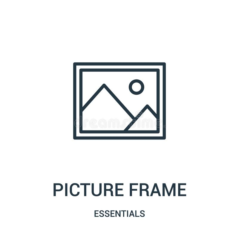vetor do ícone da moldura para retrato da coleção dos fundamentos Linha fina ilustração do vetor do ícone do esboço da moldura pa ilustração stock