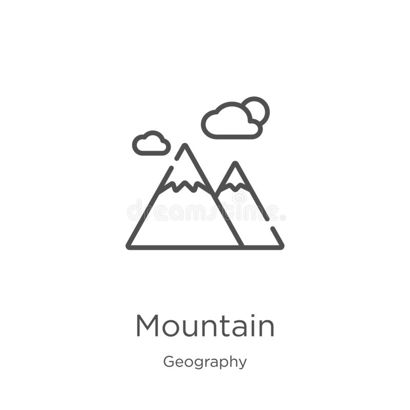 vetor do ícone da montanha da coleção da geografia Linha fina ilustração do vetor do ícone do esboço da montanha Esboço, linha fi ilustração stock