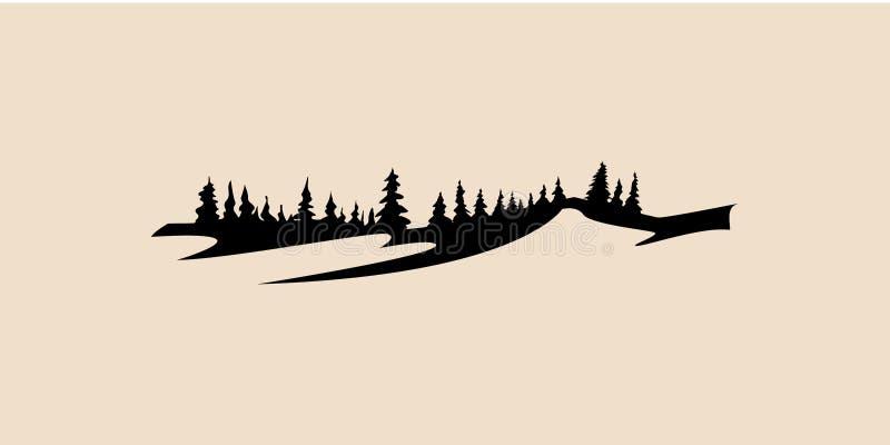 Vetor do ícone da montanha e da floresta, montanha, ilustração do vetor do pinheiro, vetor do pinheiro, ilustração da montanha ilustração stock