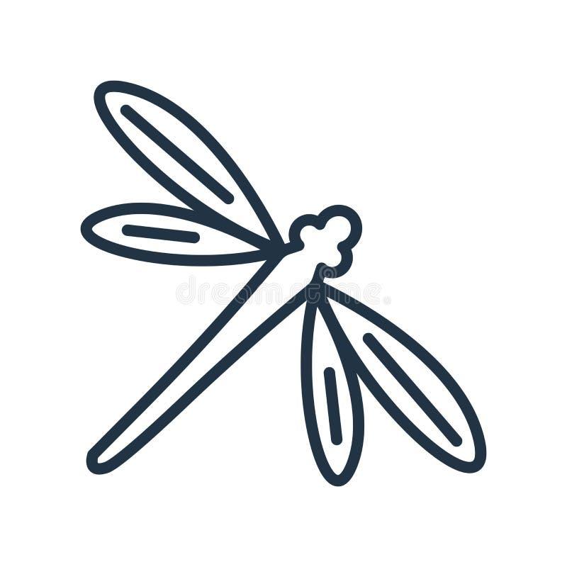 Vetor do ícone da mosca do dragão isolado no fundo branco, sinal da mosca do dragão ilustração royalty free