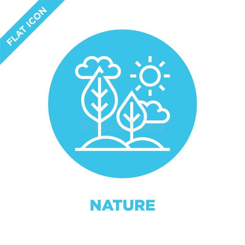 vetor do ícone da natureza da coleção saudável da vida Linha fina ilustração do vetor do ícone do esboço da natureza Símbolo line ilustração stock